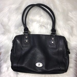 FOSSIL Black Leather Handbag W/ Silver Zip Detail